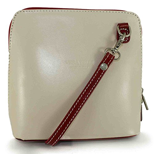 BHBS kleine Damenumhängetasche aus Italienischem Leder 18 x 16 x 7.5 cm (B x H x T) Cream / Red