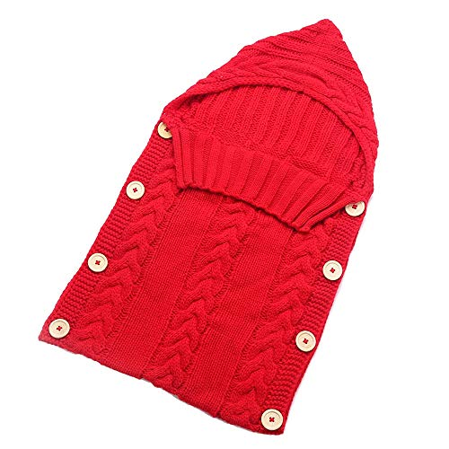 CCMUP Neugeborenen Kleinkind Decke handgemachte Säugling Babys Schlafsack Stricken Kostüm häkeln Baby Gestrickte Schlafsäcke Schlafsäcke Taste-rot