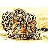Xshuai Diamant Malerei DIY 5D Voller Diamant Feine Wird Nicht verblassen Stickerei Kreuzstich Bilder Kunst Handwerk Dekoration Für Wohnzimmer Schlafzimmer 25x20cm (Leopard B)