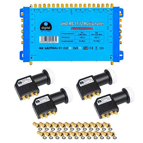 HB-Digital Quattro LNB Schwarz + Multischalter pmse 17/12 von HB-DIGITAL bis zu 4x Satellit und bis zu 12 x Unabhängige Teilnehmer / Receiver für Full HDTV 3D 4K UHD mit Netzteil + 45 Vergoldete F-Stecker Gratis dazu