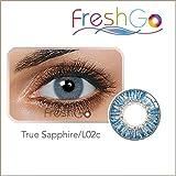 Farbige Jahres Kontaktlinsen, BLAU, weich, ohne Stärke als 2er Pack (2 Stück)- mit Aufbewahrungsbox, angenehm zu tragen, perfekt für helle und dunkle Augen, Party, blau/grün
