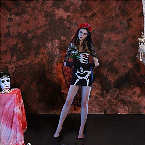 Simmia Halloween Kostüm,Halloween Kostüm Cosplay Uniform Party Geisterbraut Vampir Königin Hure Hexe Kostüm, schwarz, S