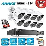 ANNKE 8CH 3.0MP DVR Sistema de 8 Cámaras Metal de seguridad de vigilancia de CCTV 3MP con 2TB Disco...