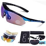 Deportes Y Aire Libre Best Deals - Carfia TR90 UV400 Unisex Gafas de Sol Deportivas Polarizadas 5 Lentes de Cambios Incluido para Deporte y Aire Libre Ciclismo Conducción Pesca Esquiar Golf Correr Negro Brillo + Azul
