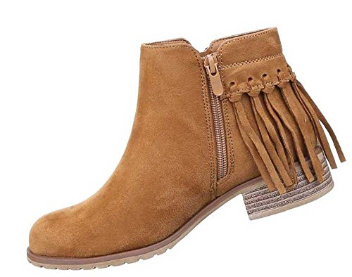 Damen Stiefeletten Schuhe Fransen Boots Schwarz Camel