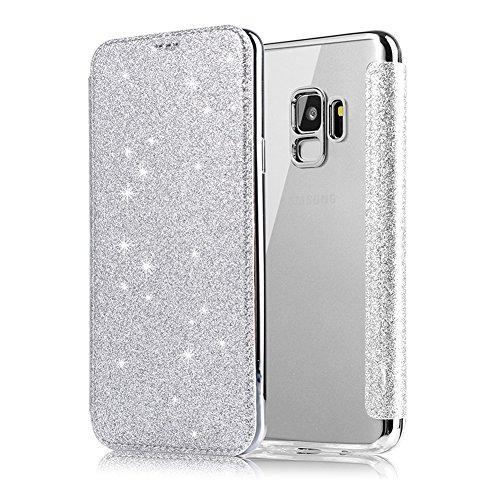 Coque pour Samsung Galaxy S9 Argent, XINYIYI Housse Étui de Protection Glitter de Luxe Clapet Cuir PU avec Transparente TPU Silicone Arrière Folio Cover Fonction Stand et Fente Carte Bumper