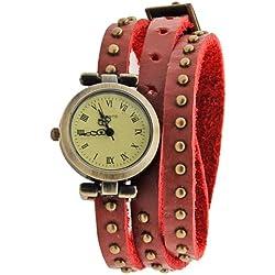 Finejo Women's Classic Leather Strap Roma Number Dial Quartz Watch 6 Colors