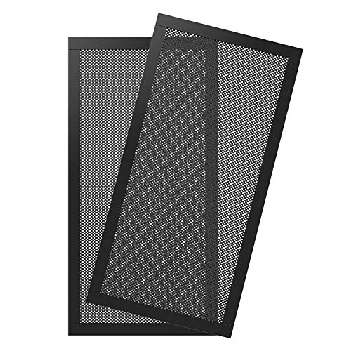 MoKo 120 * 240mm Dust Filter for Computer Cooler Fan, [2 Pack] Magnetic Frame PC Fan Dust Mesh PC Cooler Filter Dustproof PVC Cover Computer Fan Grills - Black -