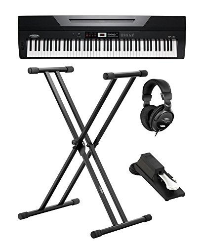 Classic Cantabile SP-150 BK Stagepiano SET inkl. Ständer, Kopfhörer und Pedal (88 Soft-Touch Tasten, Anschlagdynamik, MIDI, USB, Begleitfunktion, inkl. Notenständer, Netzteil, Keyboardstativ) schwarz