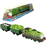 """Fisher Price Year 2014 Thomas And Friends Trackmaster As Seen On Dvd """" Tale Of The Brave"""" Enhanced Motorized Railway Battery Powered Engine 3 Pack Train Set Gator The Green Color Steam Locomotive With Tarp Covered Car And """"Cargo Loaded&quot"""