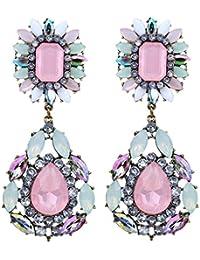 Yazilind pendientes de la joyería de cristal cuelgan coloridas Exquisito gotas de agua Flor esculpir