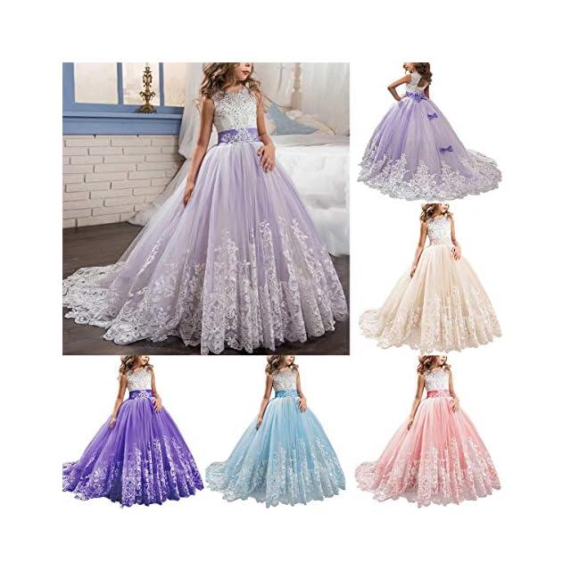 bb4e37a249d73 Fille Appliques Robe de Princesse Longue en Dentelle Robe de ...