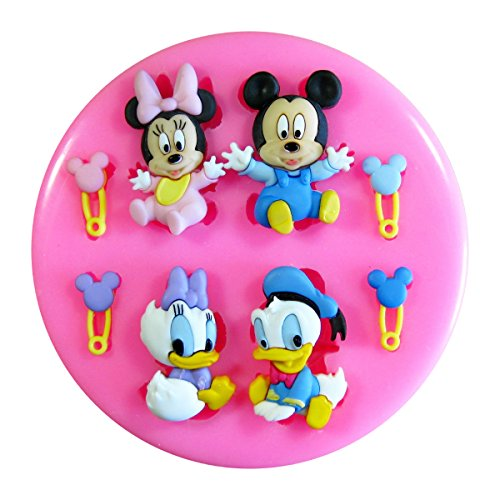 Baby Mickey Mouse, Minnie Mouse, Donald Duck & Daisy Duck SilikonForm für Kuchen Dekorieren, Kuchen, kleiner Kuchen Toppers, Zuckerglasur, Fondantform, Sugarcraft Werkzeug durch Fairie Blessings (Set Schneemann Nativity)