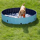 Dog Paddling Pool for Pets Portable Outdoor Garden Pool for Dogs and Puppies with cover sturdy non inflatable (Size Large: Diameter 160cm x H 30cm)