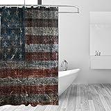 JSTEL USA Flagge Duschvorhang mit Schimmel resistent und wasserdicht Polyester Stoff 72x 72cm, extra-lange Badezimmer Deko-Liner mit Haken