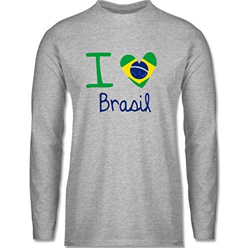 Länder - I love Brasil - Longsleeve / langärmeliges T-Shirt für Herren Grau Meliert