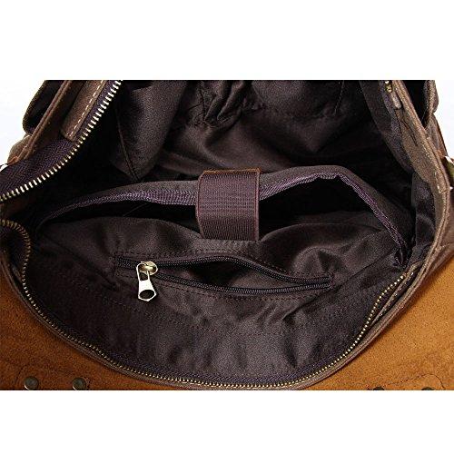 DoubleMay Herren Vintage Canvas Leder Aktentasche Messenger Bag Umhängetasche ideal für Studium Büro oder Freizeit Outdoor 37 x 11 x 30 cm (Dark coffee) Blau