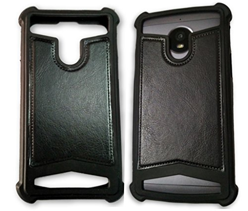 BKDT Marketing Rubber and Leather Soft Back Cover for Panasonic P81- Black