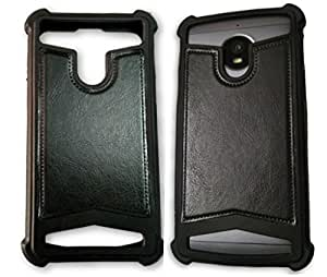 BKDT Marketing Rubber and Leather Soft Back Cover for Sony Xperia E3 Dual- Black