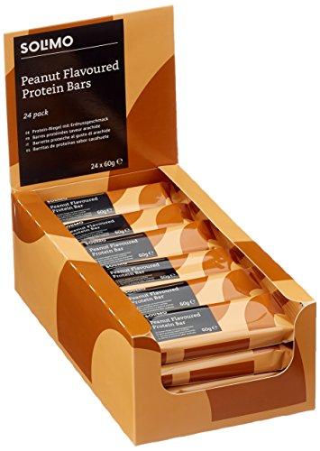 Marca Amazon -  Solimo Barra rica en proteína sabor cacahuetes (24 barritas)
