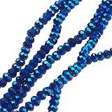 nbeads 10Stränge aus blau galvanisiert Briolette facettierte Glasperlen 3mm für Schmuckherstellung, Loch: 0,5mm, über 200/Strähne, 36,8cm
