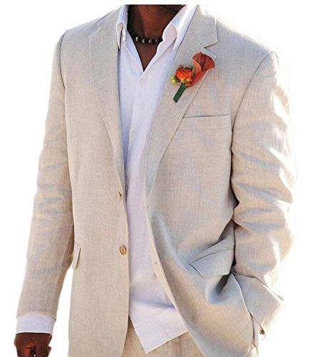 Lilis® Herrenmode Anzug 2 Button Strand Hochzeit Smoking für Männer Bräutigam Jacke Hosen