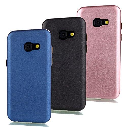 Uposao 3 in 1 Zubehör Set Schutzhüllen Für Samsung Galaxy A5 (2017)/A520F Hülle TPU Case Schutzhülle Silikon Crystal Case Durchsichtig Cover Schale Handy Tasche Skin(Dunkelblau + Schwarz + Rosa)