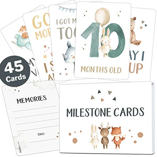 45 Baby milestone cards Lino for boys and girls milestone cards set + gift box beautiful gift idea for birthday, christening or babyshower (animals, white, english)