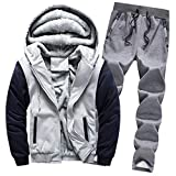 Amphia - Herren Mantel + Hosenanzug aus Baumwolle - Herren Hoodie Winter Warm Fleece Zipper Sweater Jacke Outwear Mantel Top Schläuche Sets