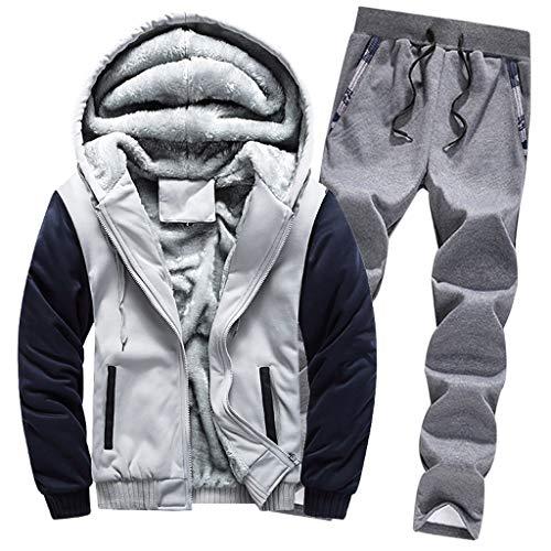 YSFWL Herren 2 Stück Sportanzug Anzug Tops Hosen Trainingsanzug Winter Streetwear Online Shop Jogginganzug Warm Fleece Zipper Sweater Jacke Outwear Coat Top Sets Sweatshirt Hose Jogging