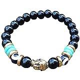 Young & Forever D'vine Black Onyx Buddha Beads Evil Eye Reiki Healing Yoga Unisex Bracelet (B55342)