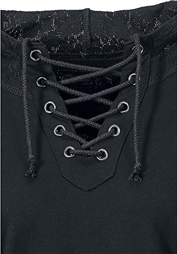 Femmes Blouse à Manches longues Dentelle Pullover Pull Sweatshirt Noir