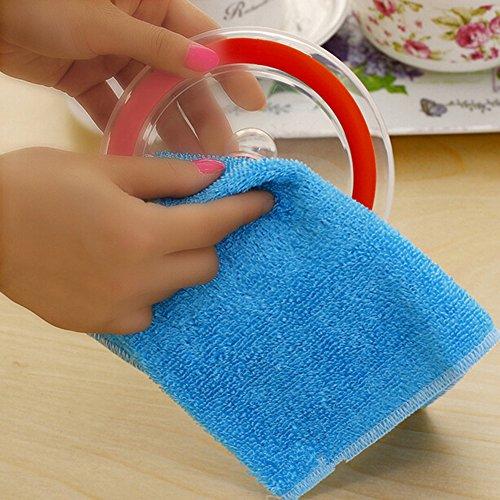 Größe Abwaschtücher–1PC Mikrofaser Bambus Faser Reinigung Handtuch für Küche Haus Auto Reinigung 30 * 27cm blau