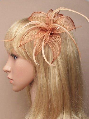 Allsorts® beige tan Feather Beak clip fascinator Brooch pin Ladies Day Royal Ascot Weddings