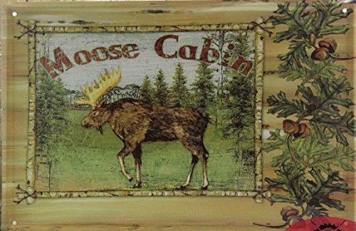 (19999) -Vintage segni di stagno alci Cabin home decor olio
