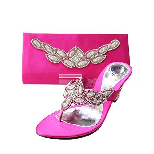 W & W femmes Mesdames Soir Sac Assorti et un confort Chaussures à enfiler Chaussures Diamante mariage talon bloc de bois de santal Taille 4-10(Perk & PECO (Modélisme)) rose vif