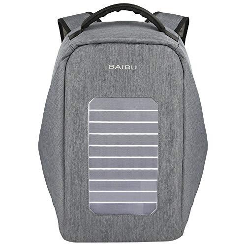 Sccarlettly Solar Powered Rucksack Business Mit USB Lade Port 5 3 W Solar Panel Wasserdicht Oxford Reisen Rucksack Wandern Daypack Für 39 6 cm Laptop Und Notebook (Color : Grau, Size : One Size)