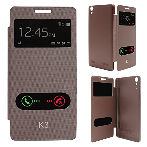 DMG Premium Diary Flip Book Cover Case for Lenovo K3/A6000+/A6000 (Brown)  available at amazon for Rs.149