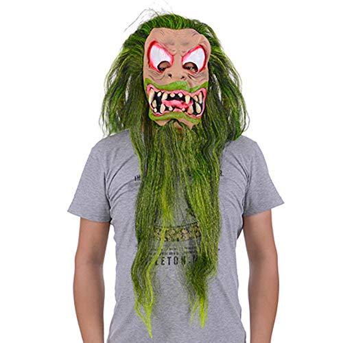 (Halloween Maske Grünes Haar Lange Bart Horror Großer Mund Seltsame Gruselige Kopf Maske Grüne Latex Tanzparty Kostüm Dekoration)