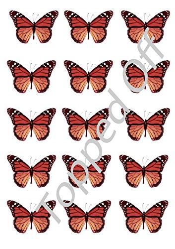 18 rote Monarch Butterfly Essbare Kuchen-Deckel-Dekorationen (18 Geburtstag-kuchen-deckel)