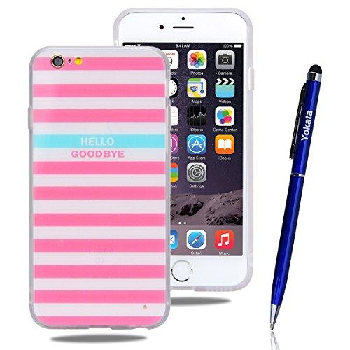 iPhone 6 / iPhone 6S Hülle, Yokata Weich TPU Soft Case mit Silikon Bumper Schutzhülle Dünne Case Cover + 1 X Stylus Pen - Marmor 8 Streifen 2