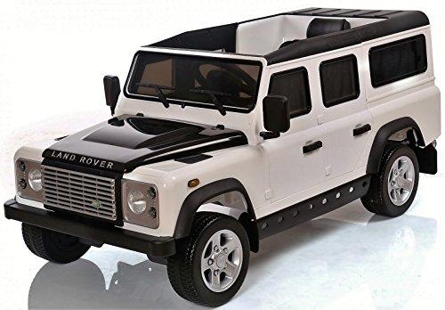Land Rover Defender Sport für Kinder, 12 V, elektrisches Auto mit Fernbedienung, weiß