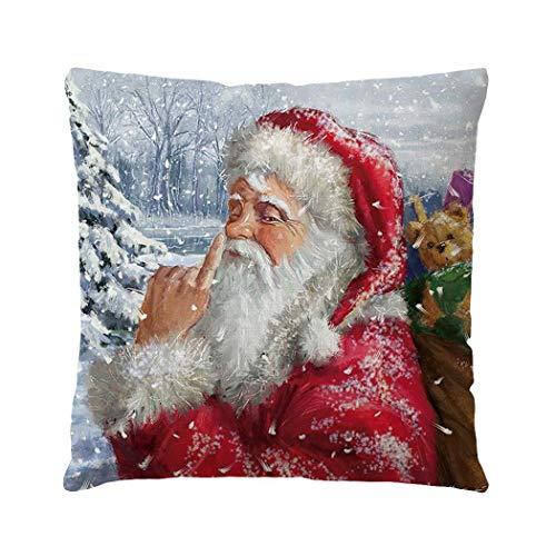 Ultrey Taie d'oreiller de noël Carrée Décoratives Impression Père Noël Couverture/Housse Taie Oreiller 45x45 cm