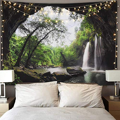 Wanlinde arazzo da appendere alla parete, in tessuto di poliestere, per camera da letto, soggiorno, a forest tapestry, 153x130cm