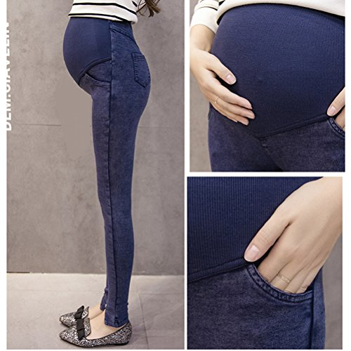 Zhhlaixing Winter Denim Thicken Plus Velvet Maternité Trousers Pregnancy Pants Leggings Black