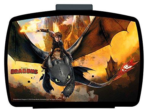 p:os 25947 - Brotdose Premium mit Einsatz DreamWorks Dragons, 16 x 12 x 6.5 cm