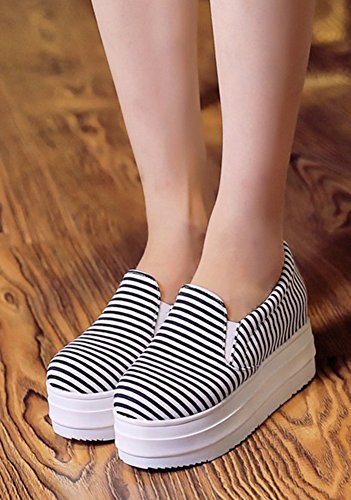 Aisun Femme Confortable Rayures Basse Slip On Sneakers Noir