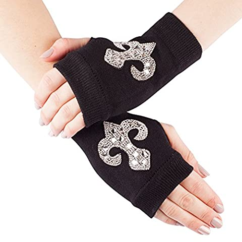 GLV152-Black Fingerless Stretch Knit Gloves with Diamante Design