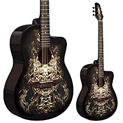 Lindo 933C Akustikgitarre mit venezianischem Cutaway inklusive Tragetasche - Schwarz