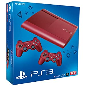 PS3 – Konsole Slim 12GB Garnet Red  (SuperSlim) inkl. 2 Dualshock-Controller Red
